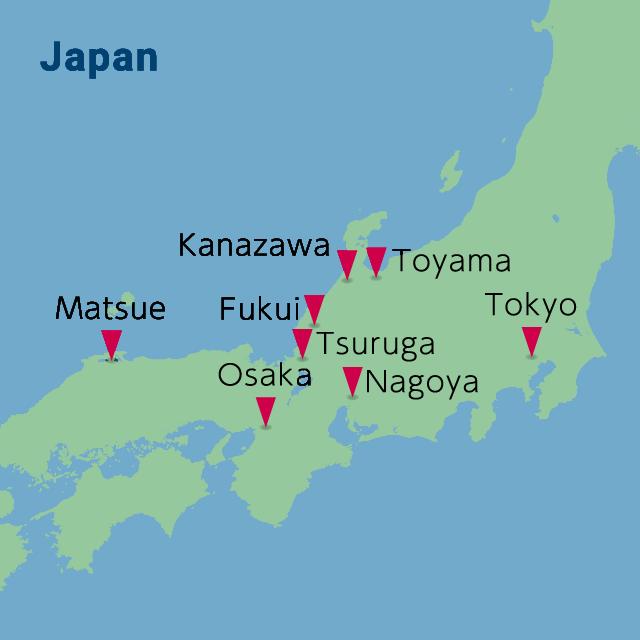 World map showing the base of EMORI & CO.,LTD. (Japanese)