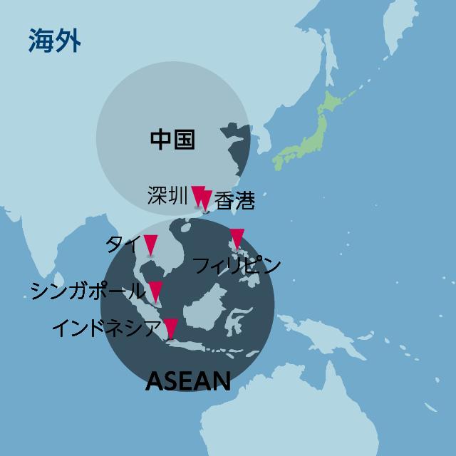 江守商事の拠点が示された世界地図(海外)
