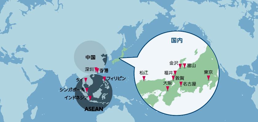 江守商事の拠点が示された世界地図